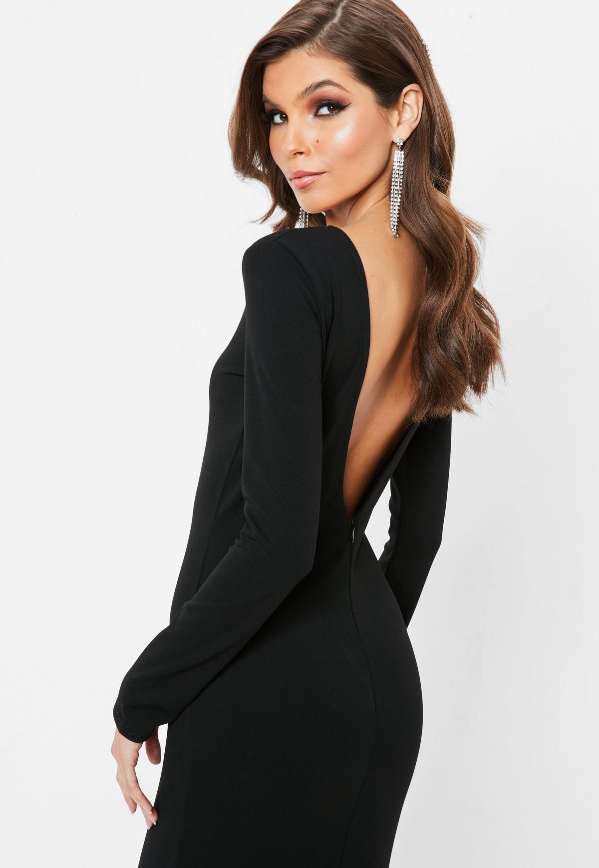 Black Open Back Maxi Dress Missguided Black Dresses Classy Elegant Backless Dress Black Tie Wedding Guest Dress [ 1739 x 1200 Pixel ]