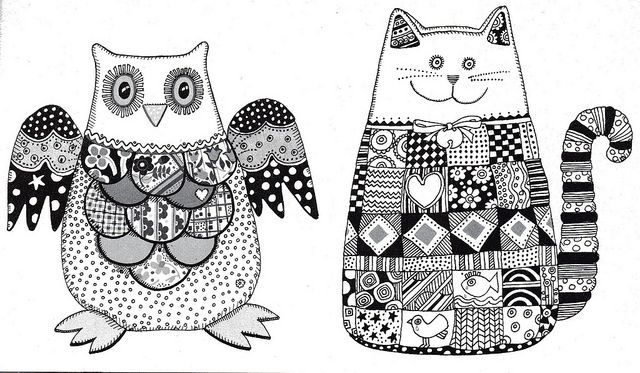 Cat and owl templates for patchwork softies by