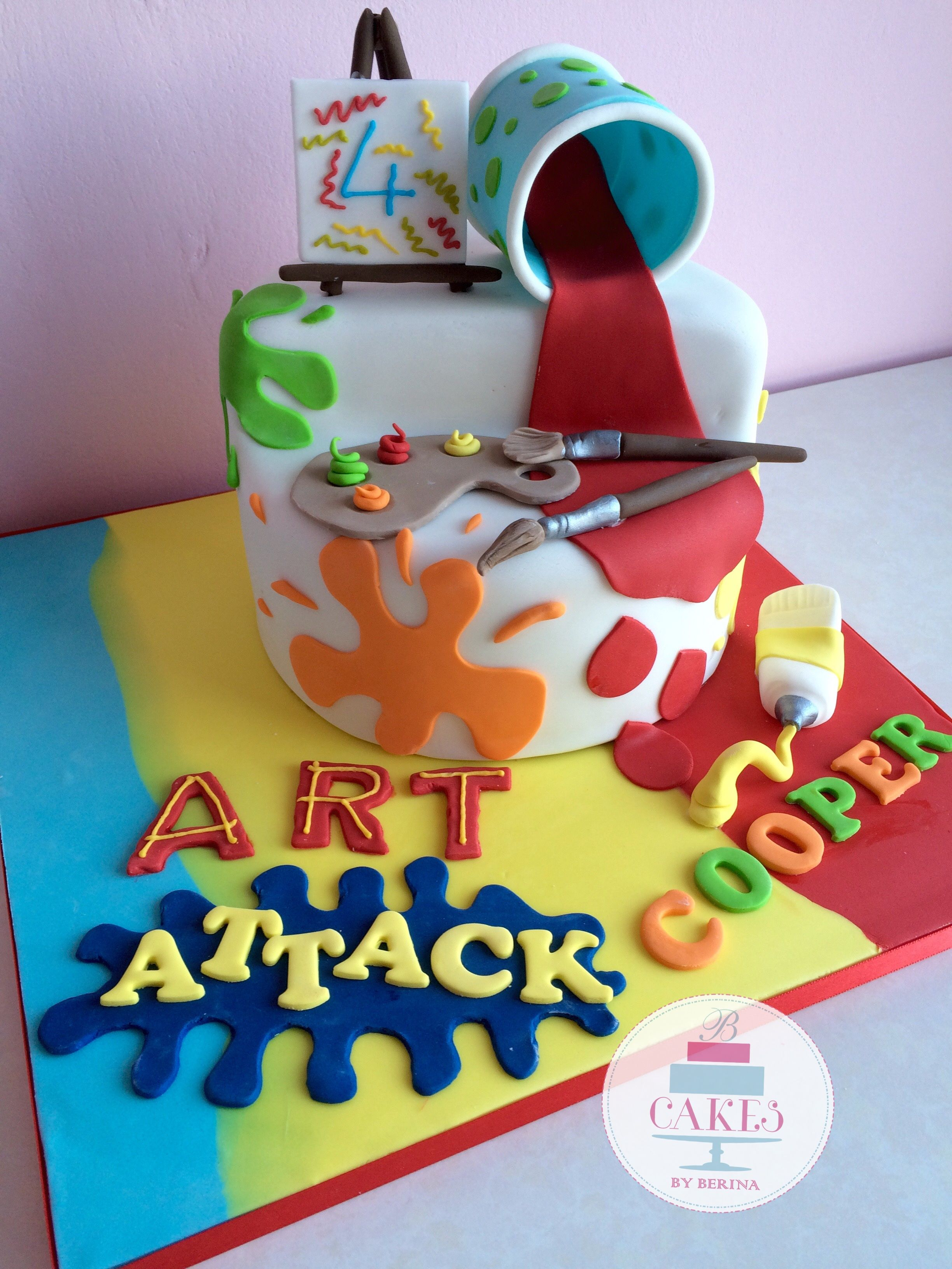 Splat bright and beautiful art attack cake! Just Cake ...