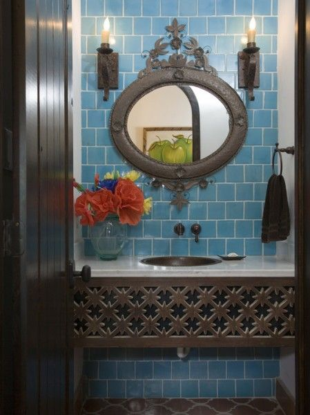 An unusual iron console sink looks Old World and suits a Spanish style bath   bathroom design  flooring tiles  stone  marble  wallpaper  shower  bathtub. Iron Sink Basin  looks like pierced metal   tile and mirror
