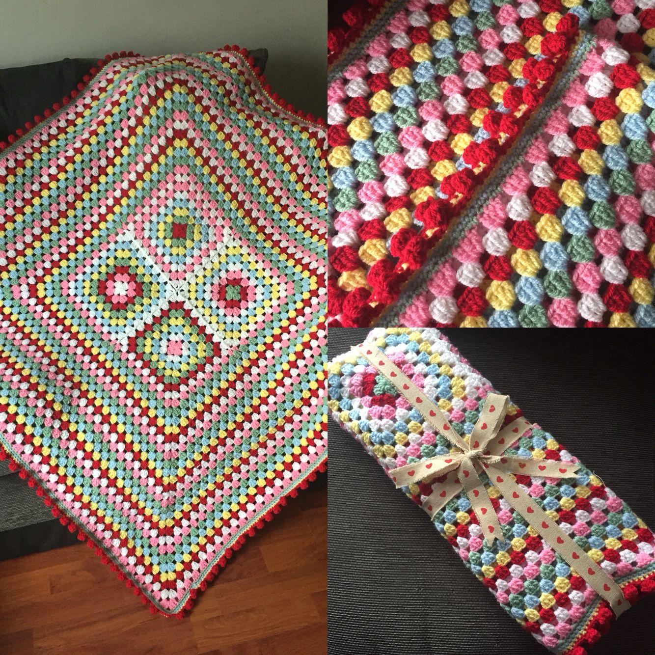 Crochet Cath Kidston Inspired Granny Square Blanket With Pom Pom