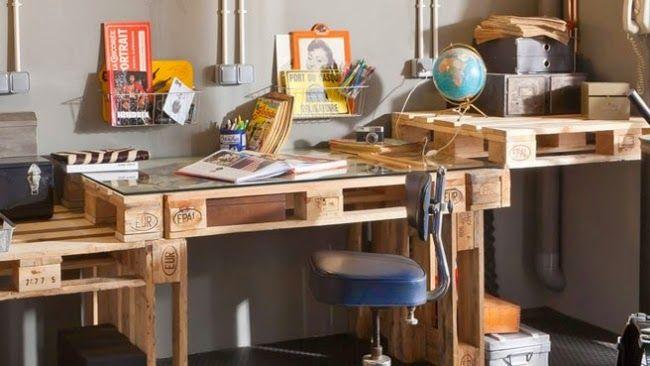 schreibtisch arbeitstisch selber bauen paletten - Paletten Schreibtisch