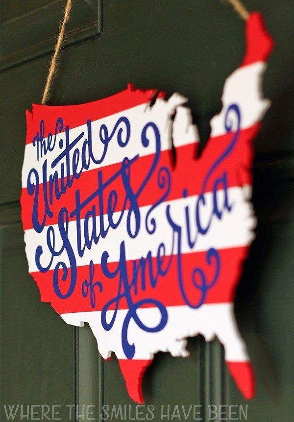 Photo of Patriotisk USA-kartet Wood Door Hanger