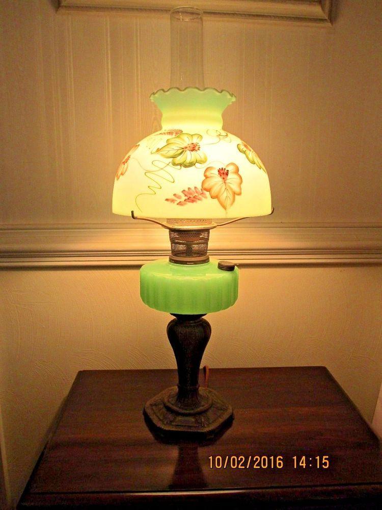 ALADDIN MAJESTIC GREEN MOONSTONE LAMP W/ SHADE CONVERTED