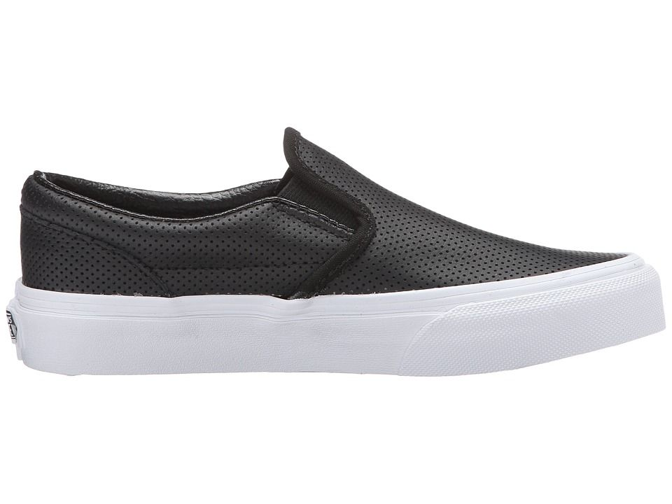fb490778c0 Vans Kids Classic Slip-On (Little Kid Big Kid) Kids Shoes Black Perf Leather
