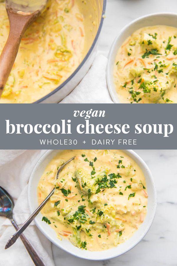 Cheesy Vegan Broccoli Soup (Whole30, Paleo, Dairy Free) images