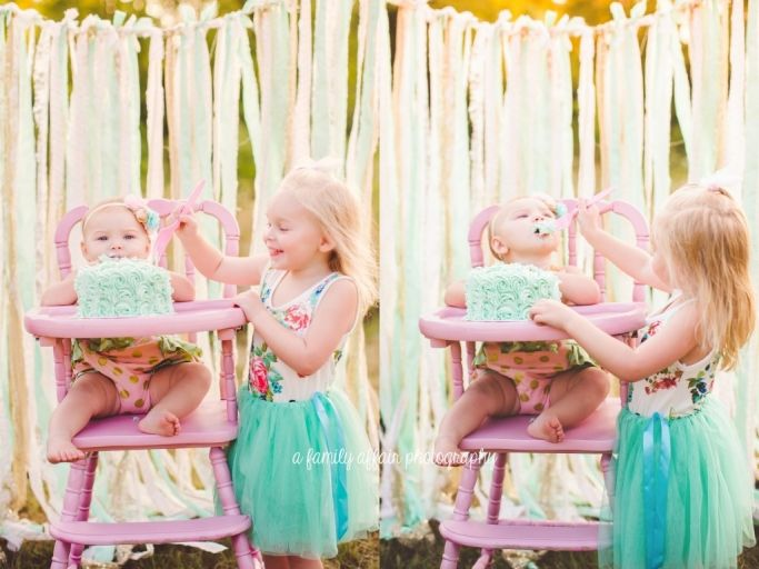 sawyer kate is ONE! » A Family Affair Photography  cake smash first birthday pink mint and gold