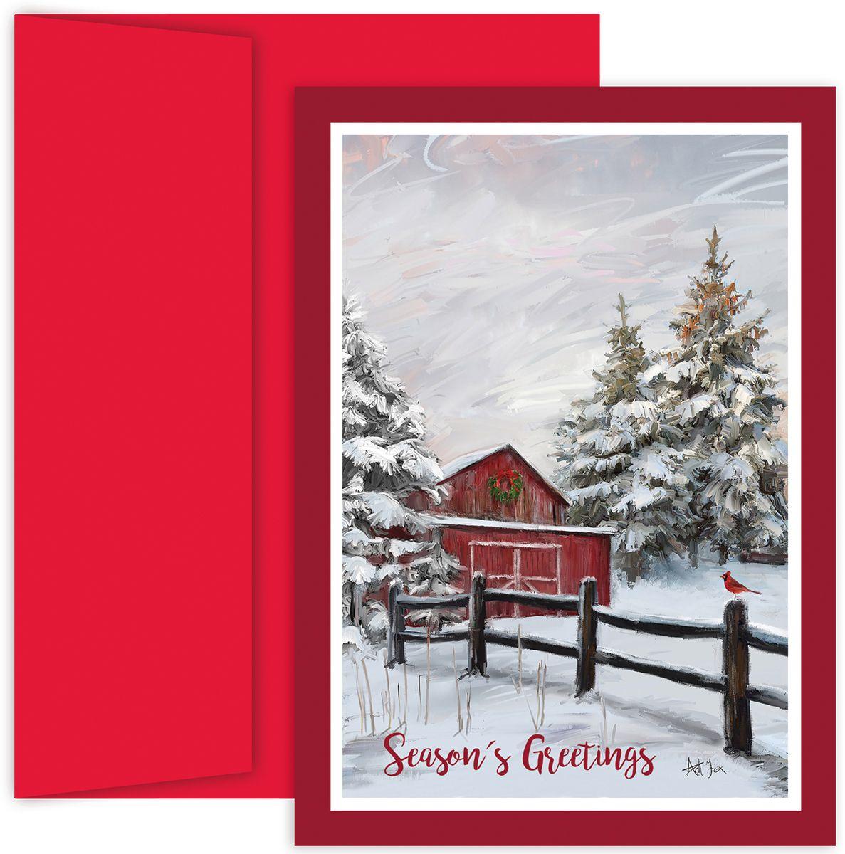 Winter Barn Holiday Card Christmas Card christmas