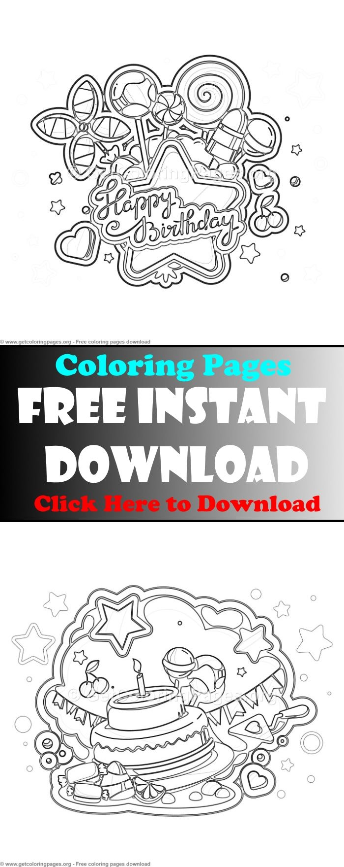 Free to download birthday card coloring pageprintable birthday