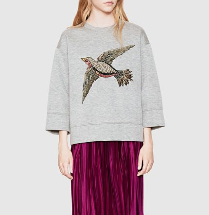 embroidered jersey sweatshirt
