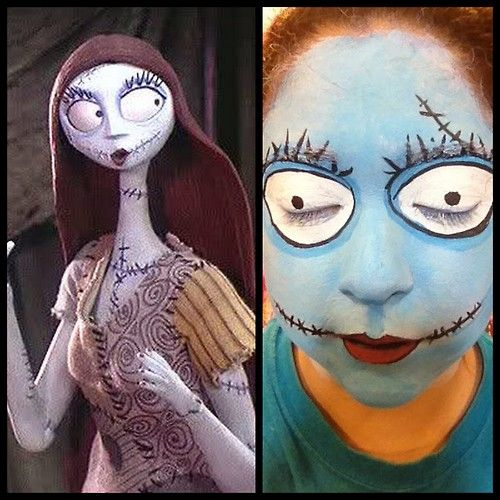 DIY Halloween Sally from The Nightmare Before Christmas Makeup Tutorial from ilovetocreate here.You could make a maroon yarn wig using this tutorial here.