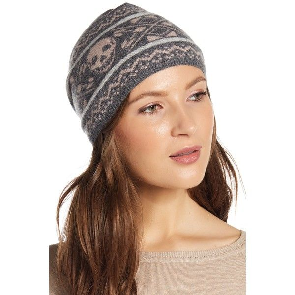 1aca357dbbd58 SKULL CASHMERE Finley Skull Beanie ( 32) ❤ liked on Polyvore featuring  accessories