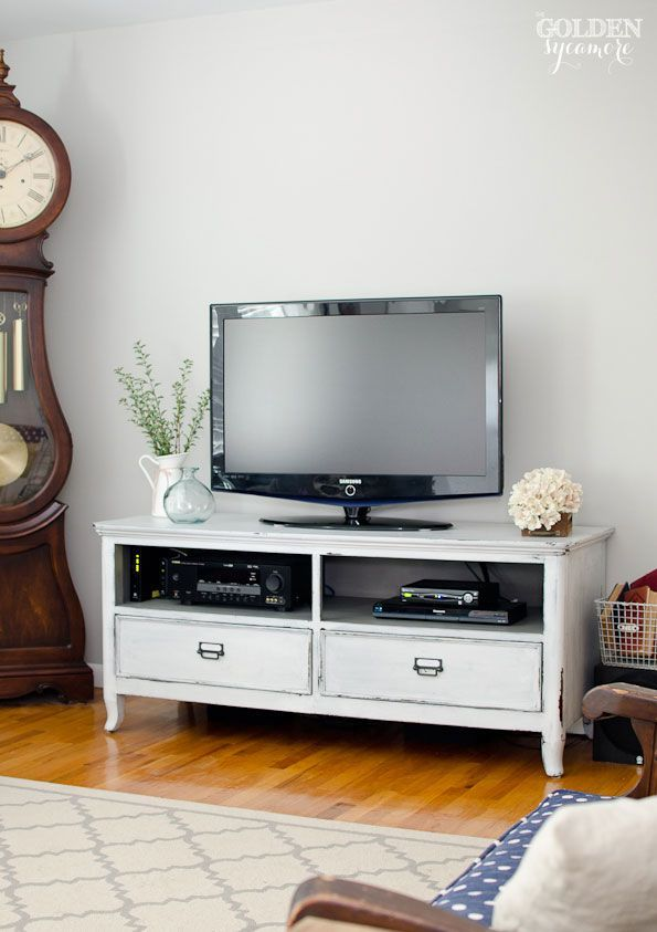 Charming Milk Painted White And Gray Tv Console · Grey TvsLiving Room ... Design