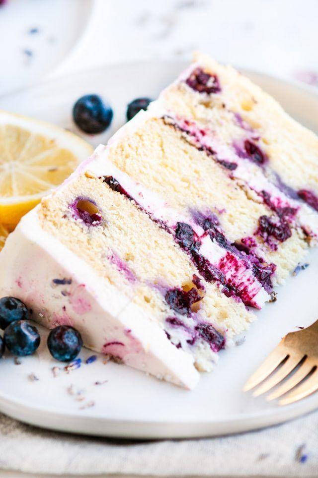 Lemon Blueberry Lavender Cake with Mascarpone Butt