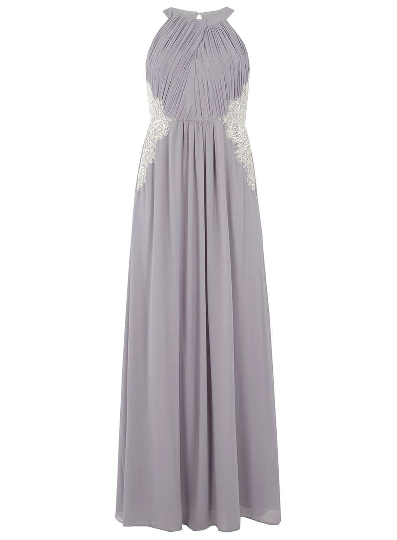 Showcase grey halter neck lace maxi dress bridesmaid dress design
