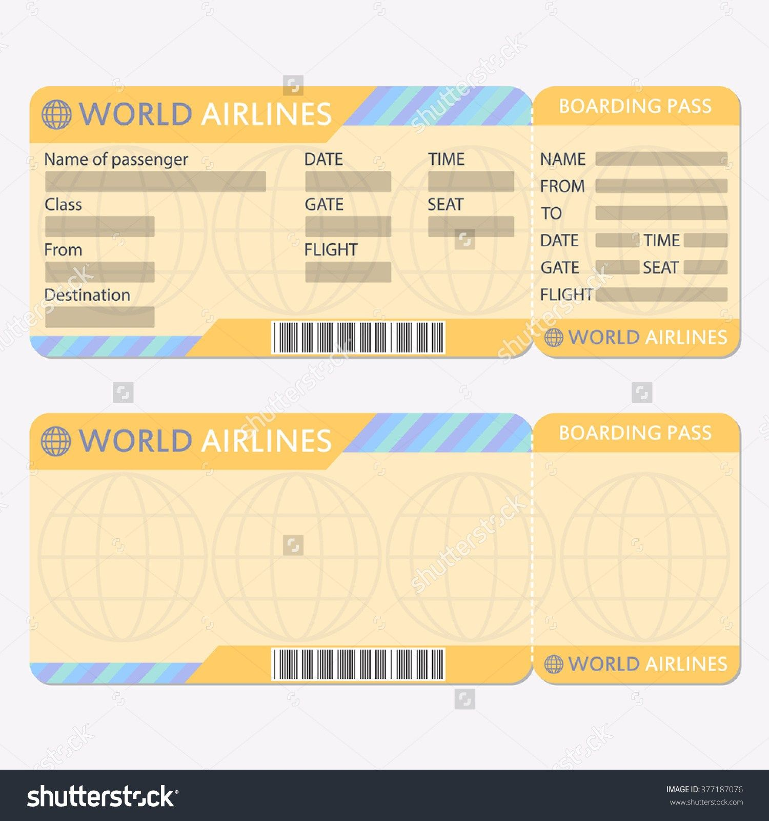 airline or plane ticket template boarding pass blank and airplane