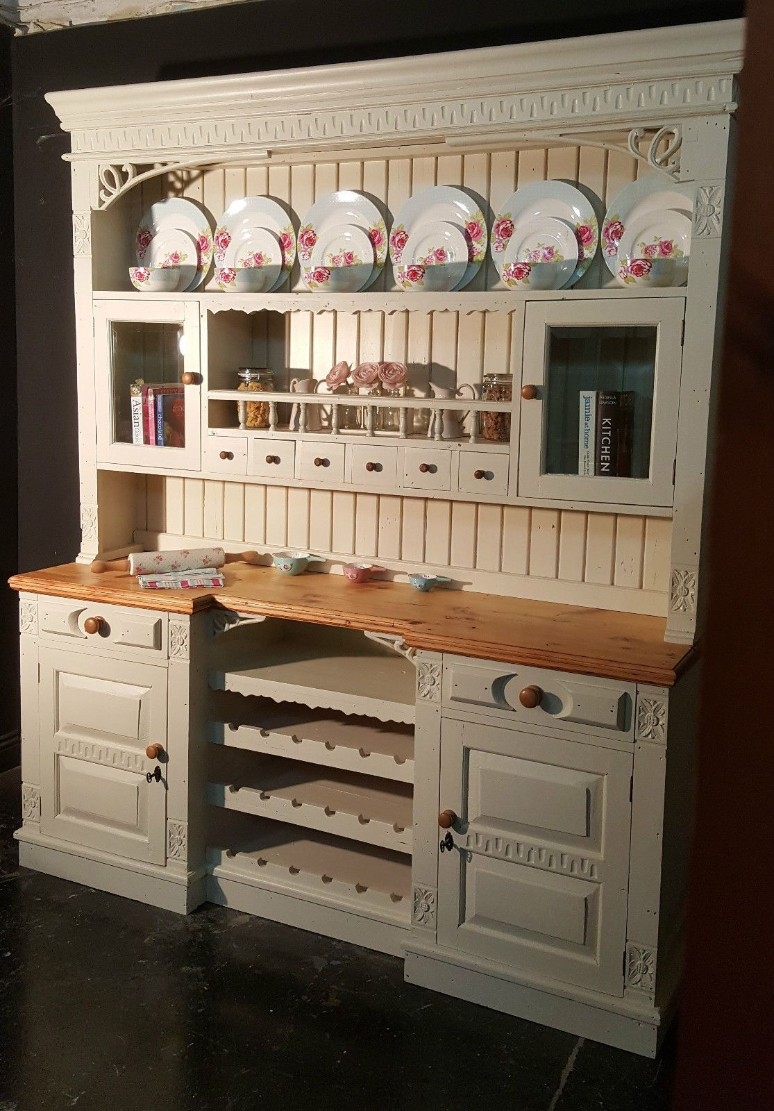 Large Reclaimed Solid Pine Farmhouse Kitchen Dresser Shabby Chic Farrow U0026  Ball   EBay