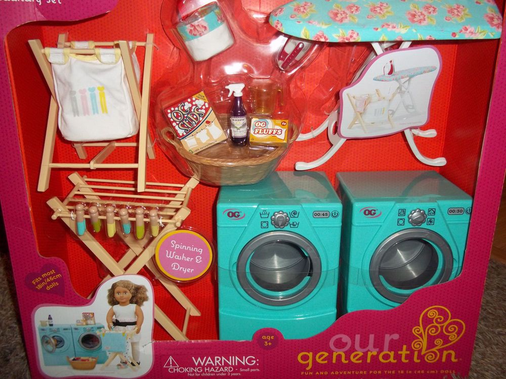 New Our Generation Tumble Amp Spin Laundry Set Washer Dryer