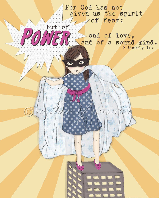 Super Girl - Spirit of POWER - Scripture Art Print - Children\'s room ...