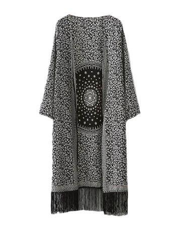 Ethnic Print Versatile Tassels Women Leisure Kimono