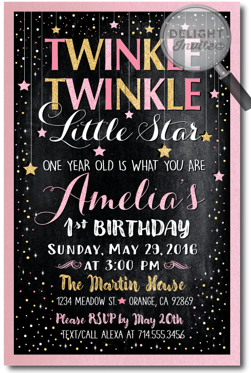 Le Little Star 1st Birthday Invitation