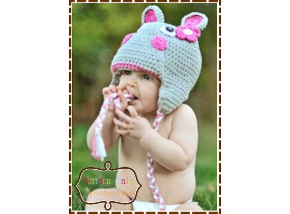 Hippopotamus Hat Crochet Pattern  HUNGRY by EmieGraceCreations, $5.50