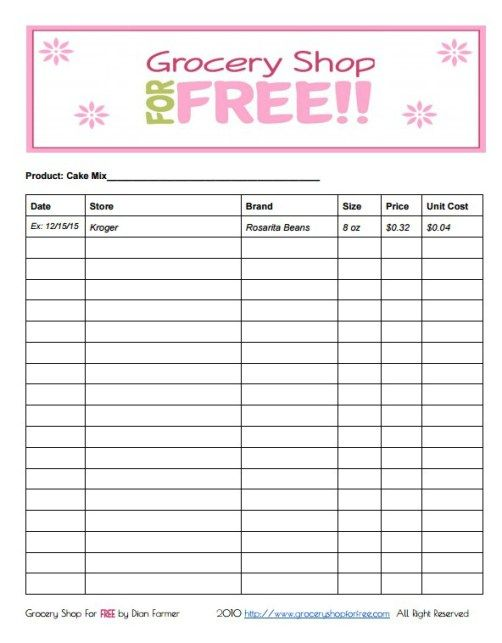 FREE Printable Grocery Store Price Book Sheet price books - Pricing Spreadsheet Template