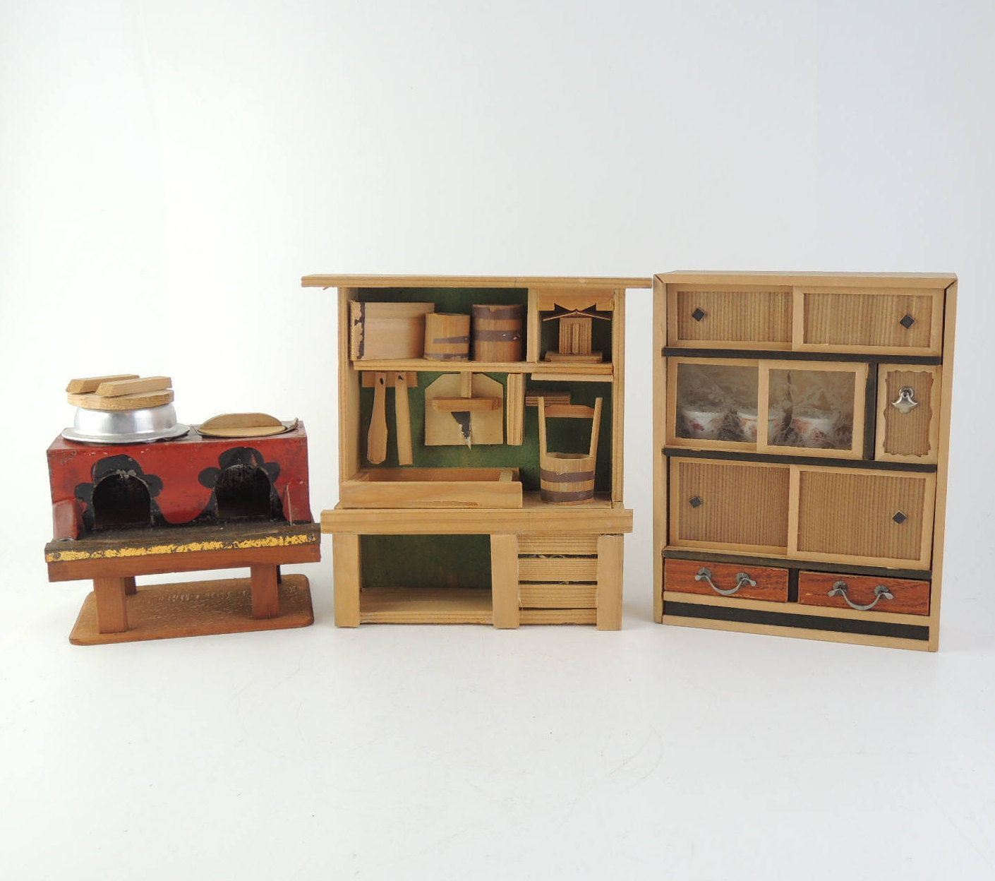 Japanese Vintage Miniature Furnitures Old Style Kitchen Set