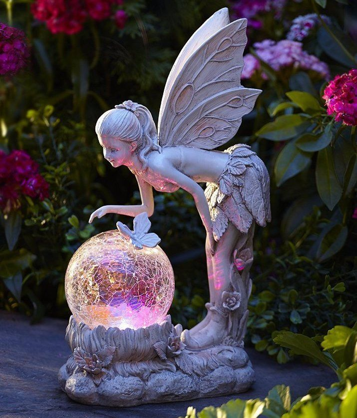 Solar light globe fairy statue color changing angel garden for Whimsical garden statues