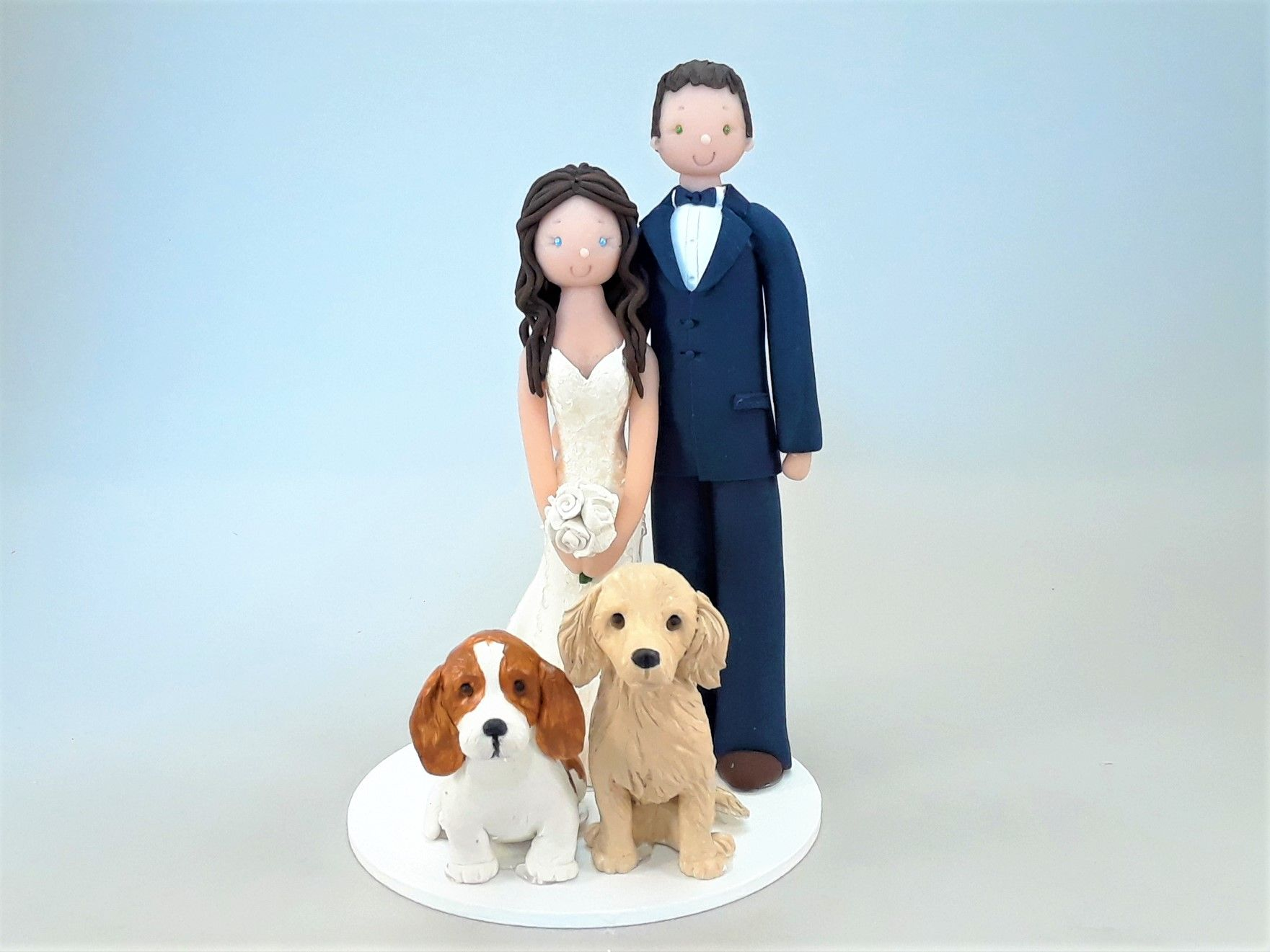 Bride u groom with dogs personalized wedding cake topper by mudcards