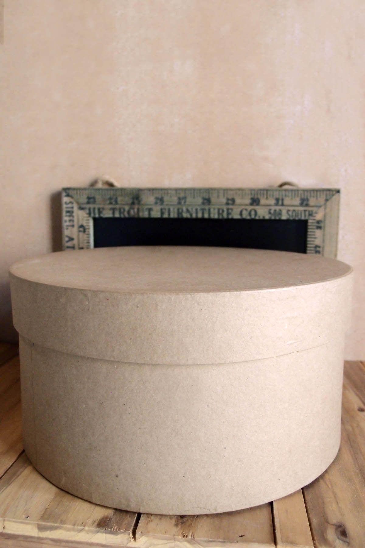 Paper Mache Hat Box 10x5 Round Hat box flowers