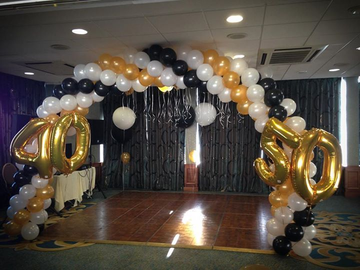 Black White and Gold Balloon Arch 40th 50th Party ideas for