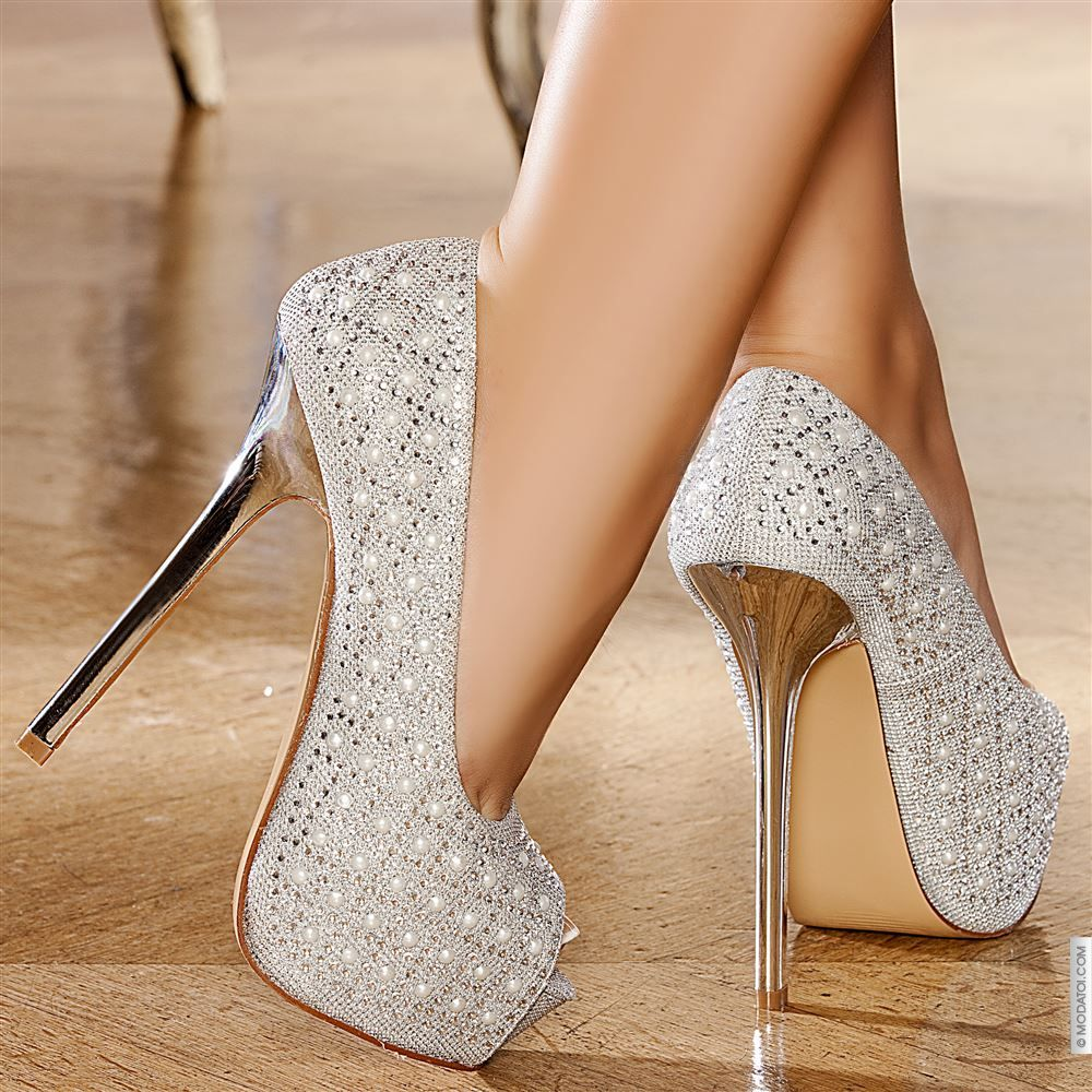 Escarpins women silver heels 15 cm size 38, online buy Escarpins ...