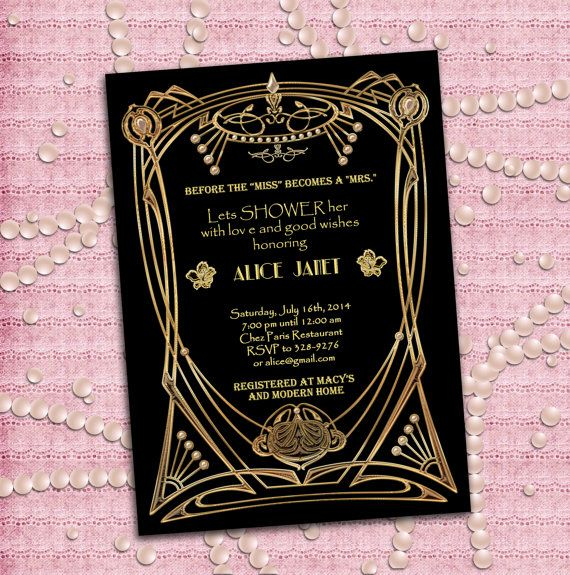 great gatsby style art deco bridal shower invitation by studiodmd 1200