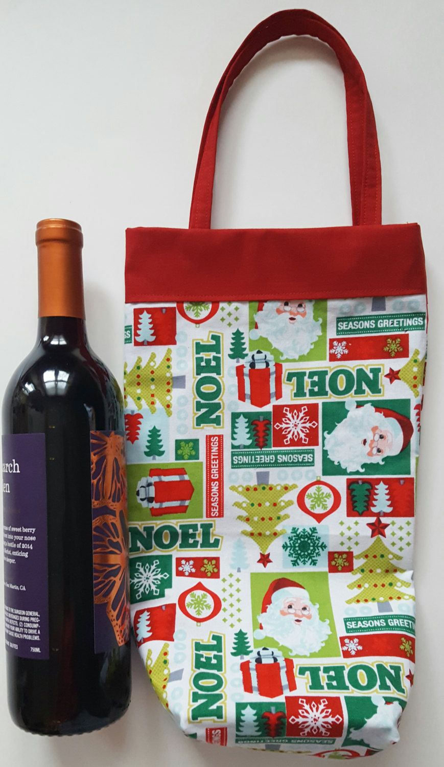 CLEARANCE Wine tote, Christmas wine bag, holiday wine tote, wine bag ...