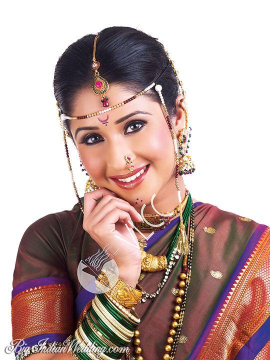 Marathi Bridal Makeup And Hairstyle : Maharashtrian bride mundavalya stings of pearls tied