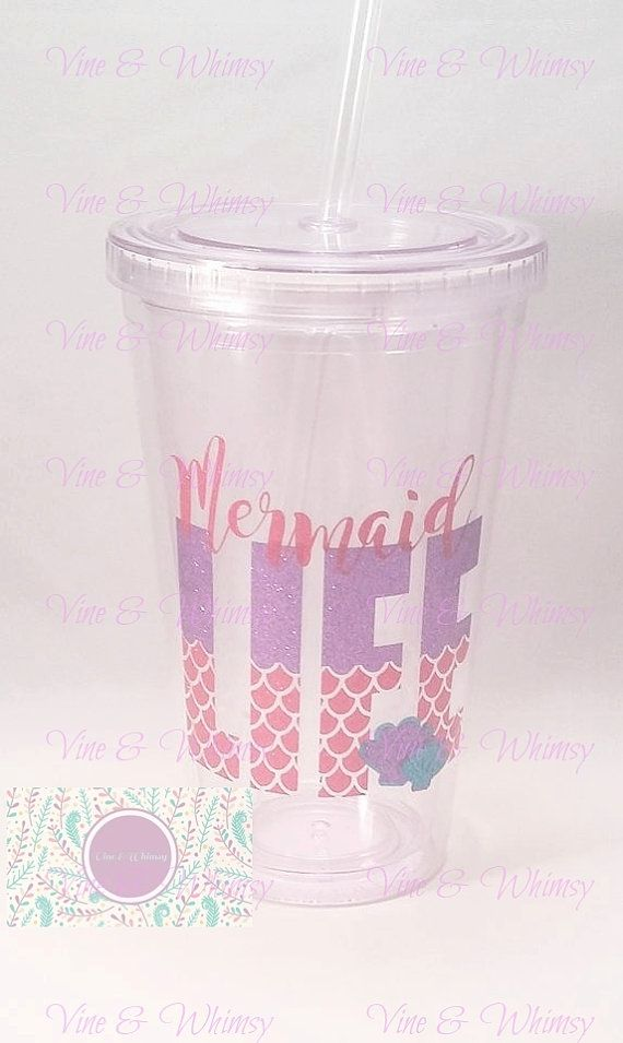 Clear acrylic tumbler personalized double wall tumbler plastic cup monogram custom decal