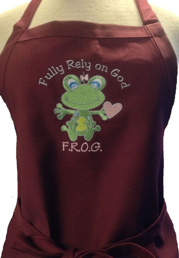 Fully Rely On God Frog Apron Great Gift Made In The Etsy House Decor