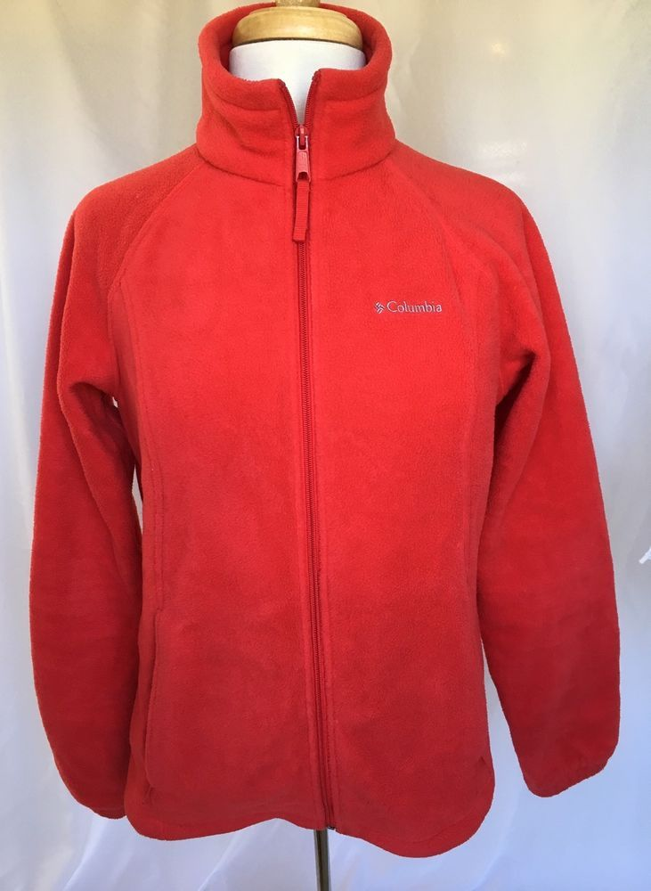 Details about COLUMBIA size Medium M Full Zip Red Fleece Jacket ...