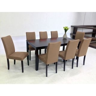 Warehouse Of Tiffany 9 Piece Brown Juno Table Dining Set