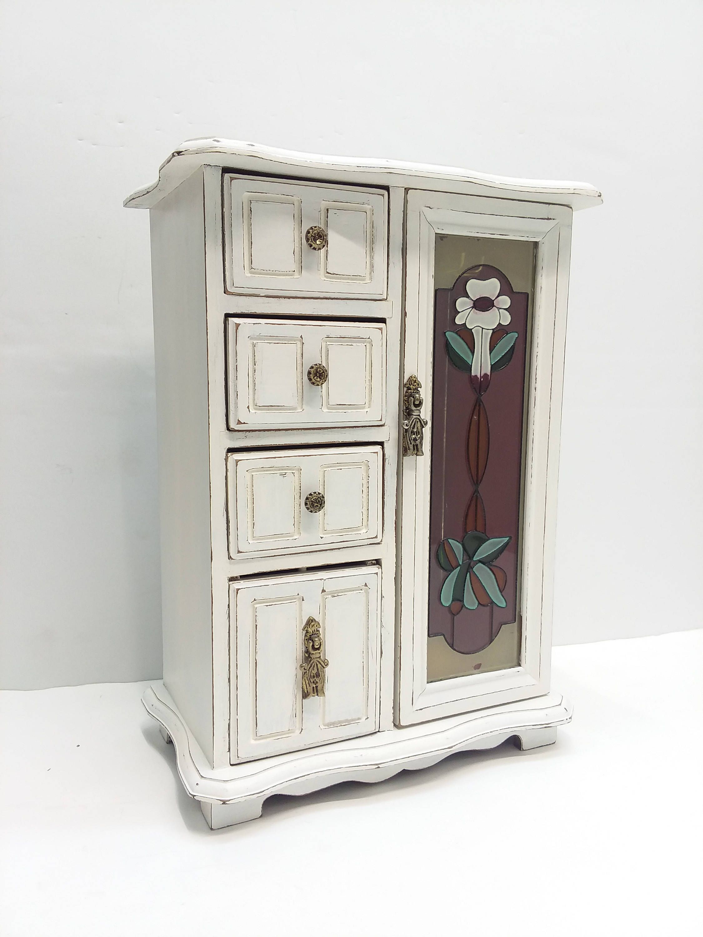Rustic Jewelry Armoire Large Shabby Chic Vintage Wooden Jewelry Armoire Painted Antique