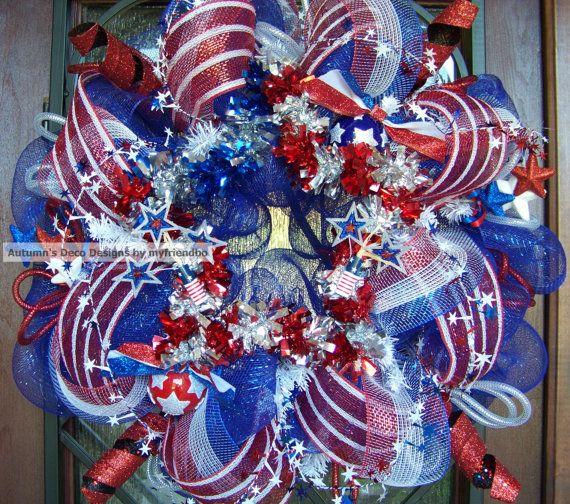 Firecracker Stars Patriotic 4th of July Deco Mesh Wreath ...