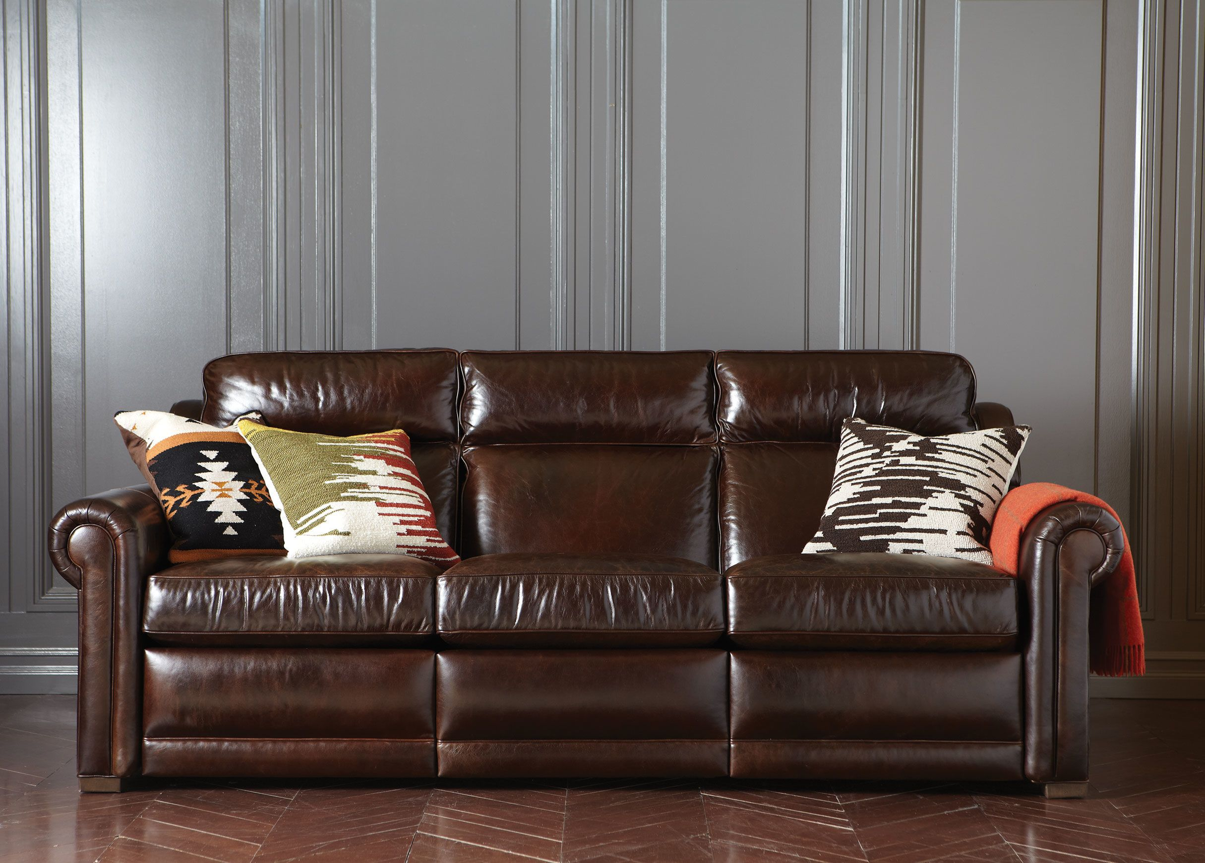 Johnston Roll Arm Leather Incliner Sofa Ethan Allen Sofa Ideas  ~ Rolled Arm Leather Sofa