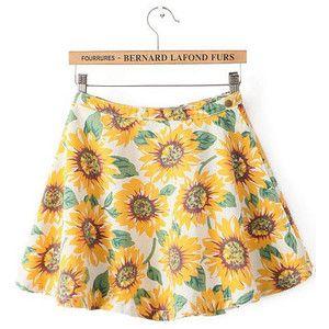 Yellow High Waist Sunflower Print Flare Skirt