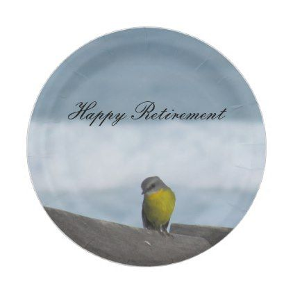 #Yellow Robin Bird-Happy Retirement Paper Plate - #birthday #gift #present  sc 1 st  Pinterest : retirement paper plates - pezcame.com