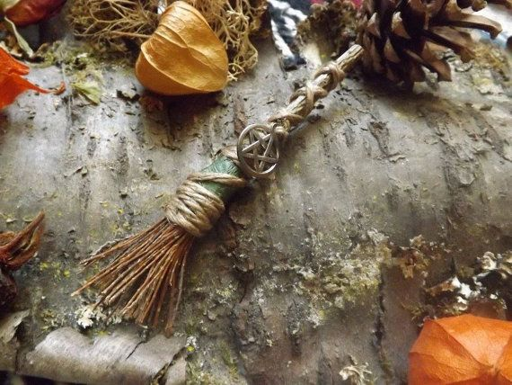 WiccanWitch Broom Brooch  witchcraft wicca by wildwizardcrafts