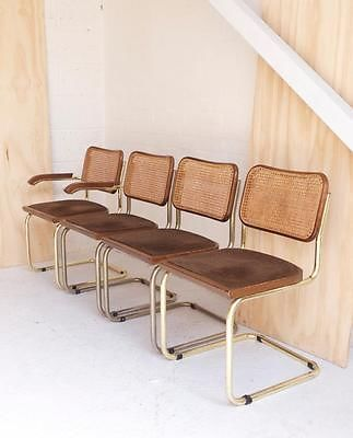 4 Vintage Italian Breuer Style Dining Chairs Chrome And Rattan