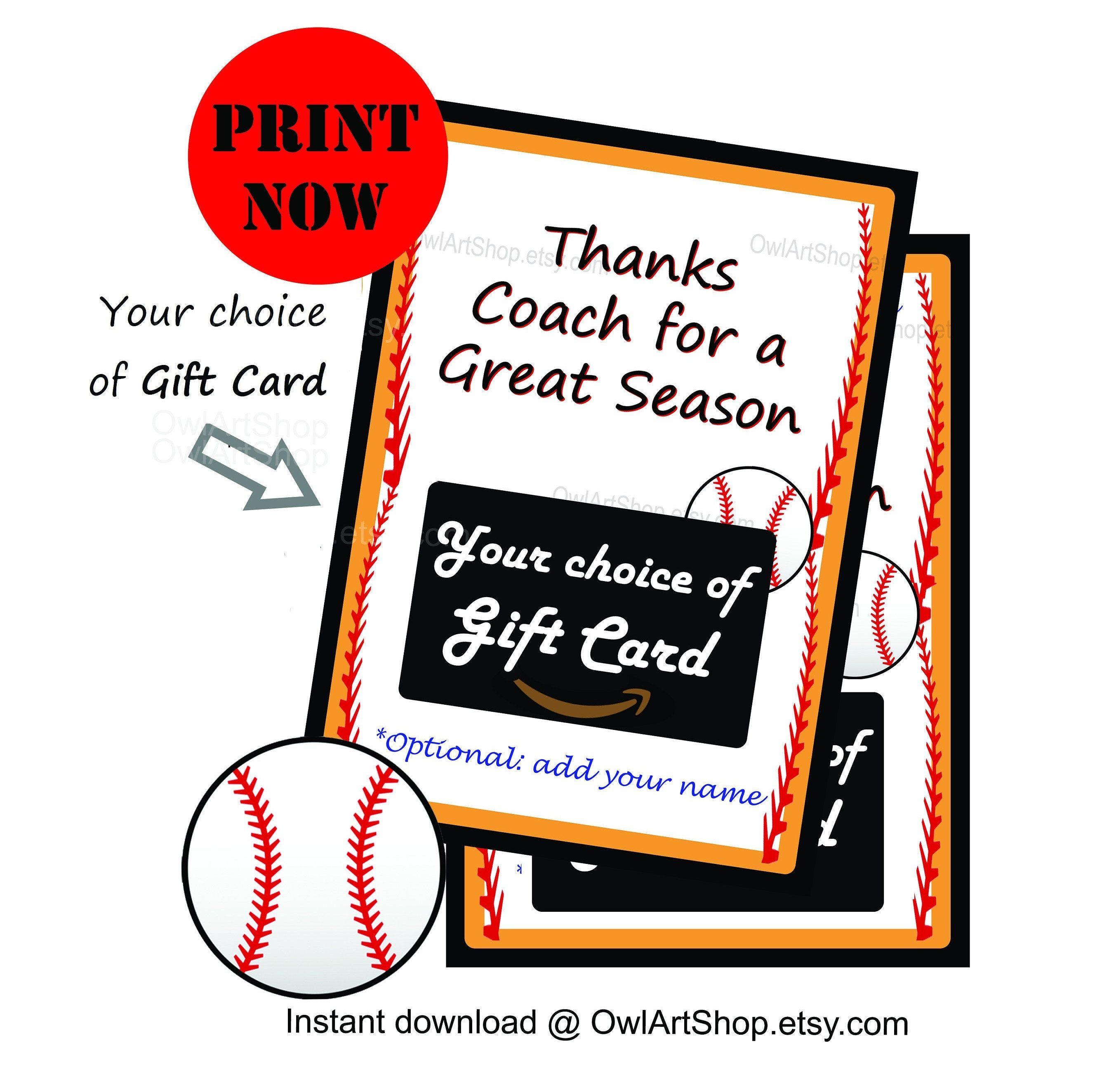 Coach thanks for a great season baseball gift card holder