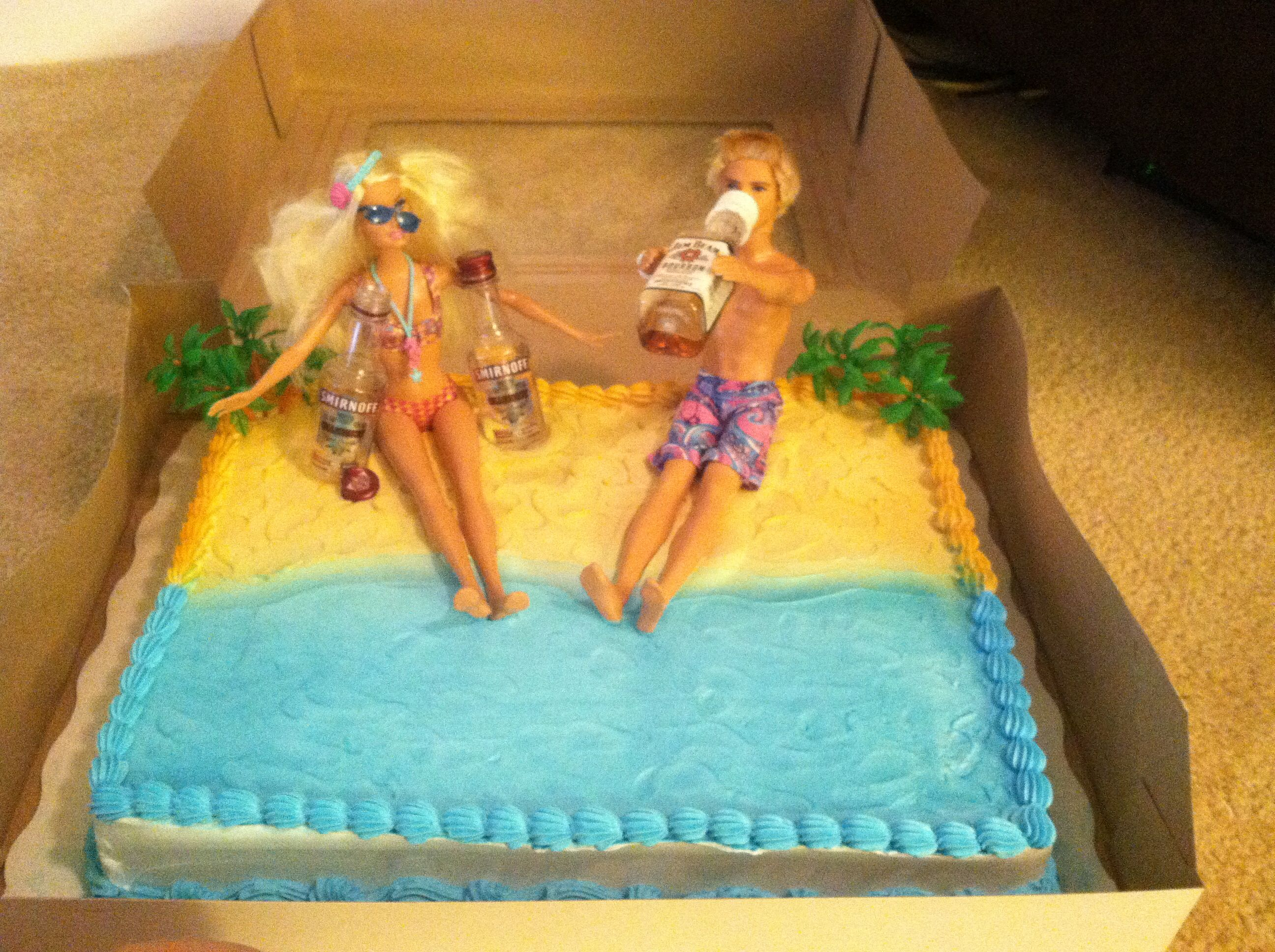 Drunk Barbie beach cake 21 and Hot Buy Me a Shot Pinterest