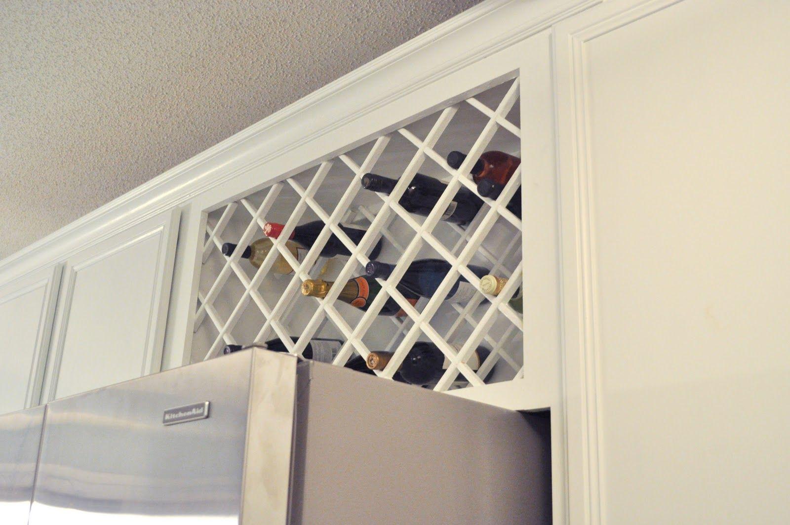 Install A Wine Rack Lattice Above The Refrigerator Hone